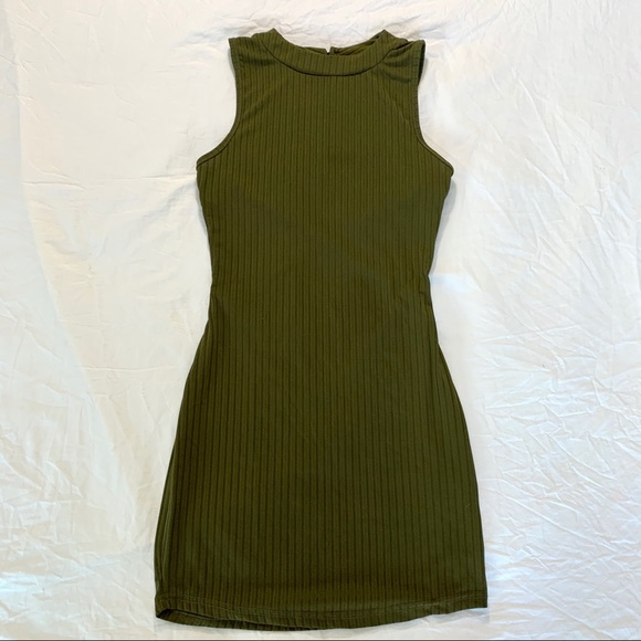 Olive green ribbed bodycon mock neck dress